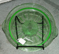 Vintage Green Depression Glass HANDLED COOKIE / Cake Plate Serving Dish