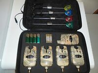 4 x TMC Wireless Camo bite alarms + receiver & 4 x illum Hangers, Carp, Alarms