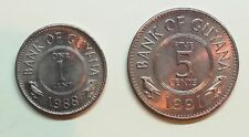GUYANA - 1 CENT 1988 + 5 CENT 1991 - LOTTO 2 MONETE -