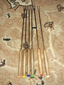 Vintage retro 6 x Fondue /Toasting /Marshmallow FORK SET.Wooden Handles