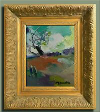 JOSE TRUJILLO FRAMED Modern Oil Painting SIGNED Impressionist FIGURES LANDSCAPE