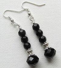 Art Deco Jet Black Facet Crystal Beaded Drop/Dangle PIERCED Earrings *
