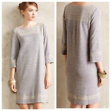 Anthropologie M Edme Esyllte Embroidered Anstice Tunic Knit Sweater Shift Dress