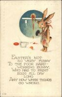 Easter Fantasy - Rabbit Wearing Apron Painting Eggs c1910 Postcard