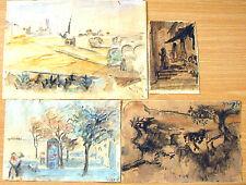 """ELSA BECK GERMAN ISRAEI ARTIST 4 WATERCOLOR DRAWINGS """"VIEWS OF ISRAEL"""" SIGNED"""