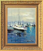 Antique Gold Framed Original Oil Painting, Blue Harbor Scene, Signed by Law Son