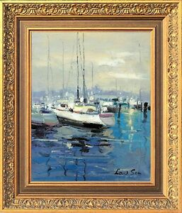 Original Oil Painting with Frame Options, Blue Harbor Scene, Signed by Law Son