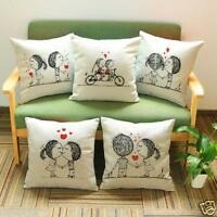Lovers Painting Linen Throw Waist Pillow Case Cushion Cover Sofa Home Decor Gift