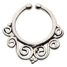 Brass Faux septum nose ring clicker body jewelry piercing prong ear lip w134