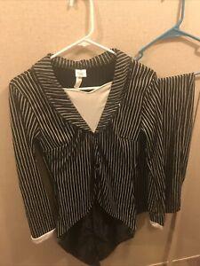 jack skellington costume female pant suit Adult Size Medium 6-8 Stretchy