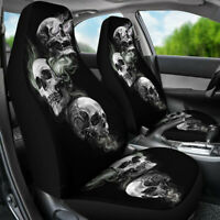Pair Universal Car Truck Seat Covers Front Set Auto Seats Cover Skul