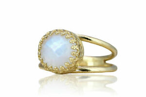Stunning Rainbow Moonstone 14k Gold Over Silver Ring Band By Anemone Jewelry