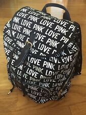 Victoria Secret Love Pink Silver Foil Logo Full Size Backpack Carry On Black Bag