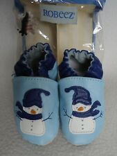Robeez Baby Blue Snowman 6 12 Months Shoes Leather Limited Edition Boy Girl New