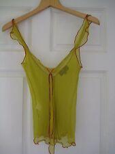 Etro Italian designer sleeveless silk yellowish green top, IT 40