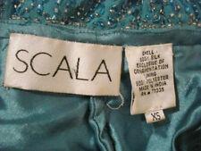 Scala Asymmetrical Aqua Silk Beaded Dress Formal Evening Wear Cocktail Vintage