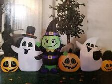 9 ft Long Inflatable Ghost Witch pumpkin Friends Lighted Halloween Airblown Yard