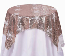 "Sequin Snowflake Blush Shimmer Christmas Decor Tablecloth 48"" Round Topper"
