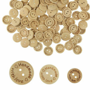 3 SIZES BUTTONS HANDMADE WITH LOVE CRAFT WOOD WOODEN HAND MADE 15/20/25mm