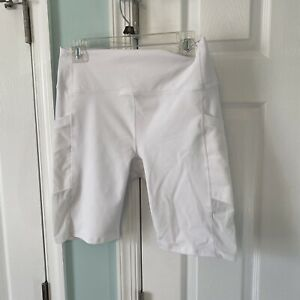 Powerhold By Fabletics Women's White Polyester Stretch Workout Shorts Size XL
