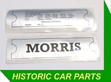Stick On Engine NAME & PATENT PLATE DECALS FOR Morris MARINA 1300 1800 1971-80