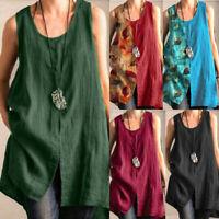 Women Sleeveless Tunic Blouse Cotton Patchwork T Shirts Vest CaTank Baggy Top