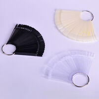 50pcs False Nail Tips Clear Black Fan Full Nail Art Display Practice Tools DIY