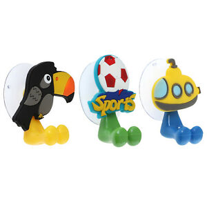 3pc Silicone Bathroom Organizers Toothbrush Holder Toucan, Submarine, & Soccer