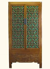 A Chinese Big Cabinet Decorated with Beautiful Carved & Green Glass Intricate