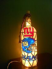 New York Giants Inspired Bottle Lamp Handpainted Lighted Stained Glass Look