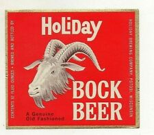 32 Oz Holiday Bock Beer Bottle Label by Holiday Brewing Co Potosi Wis *