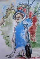 Lysiane D. COSTE drawing on paper dessin original  sur papier  technique mixte