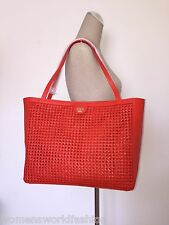 Tory Burch Poppy Red Woven Leather Erica Tote Shopper Shoulder Bag 12149871 NWT