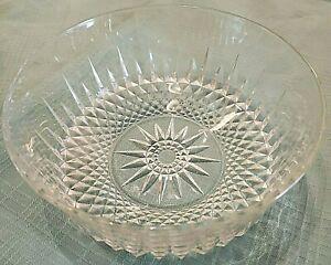Vintage Arcorac Luminarc Diamont Tempered Clear Cut Glass Serving Bowl Sunburst