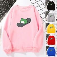 Womens Long Sleeve Cute Skateboard Frog Print Sweater Shirt Blouse Pullover Tops