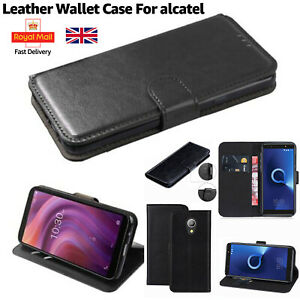 Case For All Alcatel Mobile Phones Leather Stand Flip Wallet Smart Case Cover UK