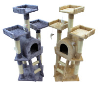 Kitten Cat Tree Scratch Post Sisal Toy Activity Centre Grey/Beige