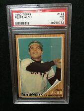 1962 Topps Baseball Cards #133 Felipe Alou, Green Tint PSA 7 Set Break, Nice!!!