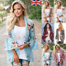 Women Holiday Lace Floral Kimono Cardigan Ladies Summer Tops Blouse Plus Size UK