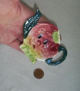Vintage Ceramic Anthropomorphic Strawberry Tea Bag Holder Japan