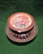 Vintage Verre Bijou Powder Bowl avec Décoratif couvercle à charnière