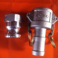 "1"" inch BSP Hosetail Camlock Set | Type A C | Aluminium | 25mm | Fire Pump"