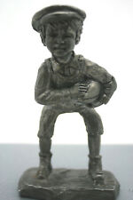 "Vntg Pewter Paperweight Rickers Irish Boy Football 4"" Handcrafted USA"