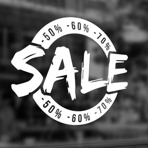 """Aufkleber Folie """"SALE %"""" Shop Deko Werbung Schaufenster Beschriftung NEU #2026"""