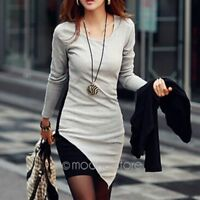 Womens Celebrity Winter Belted Elegant Joint Dress Long Sleeve Work