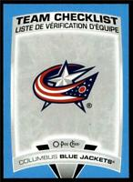 2019-20 UD OPC O-Pee-Chee Blue Border Team Checklist #559 Columbus Blue Jackets