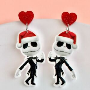 Cute Jack Skellington Fun Dangle Earrings Nightmare Before Christmas/ Halloween