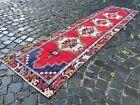 Carpet, Turkish rug, Vintage rug, Handmade rug, Runner, Wool   2,3 x 9,4 ft