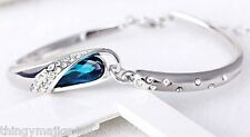 Silver Plated Turquoise Blue Tear Drop Crystal Diamante Bangle Bracelet