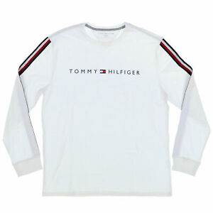 Tommy Hilfiger Mens T-Shirt Crew Neck Long Sleeve Shirt Striped Flag Logo New Th